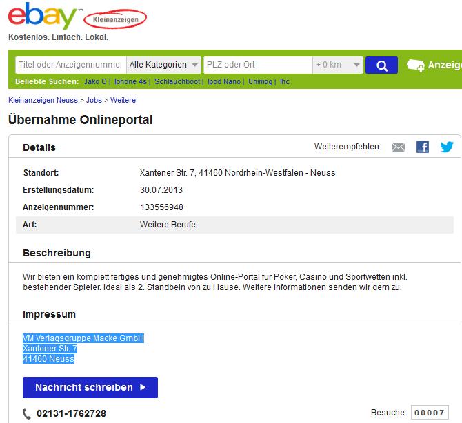 onlineportal als kleinanzeige bei ebay pokerfirma. Black Bedroom Furniture Sets. Home Design Ideas