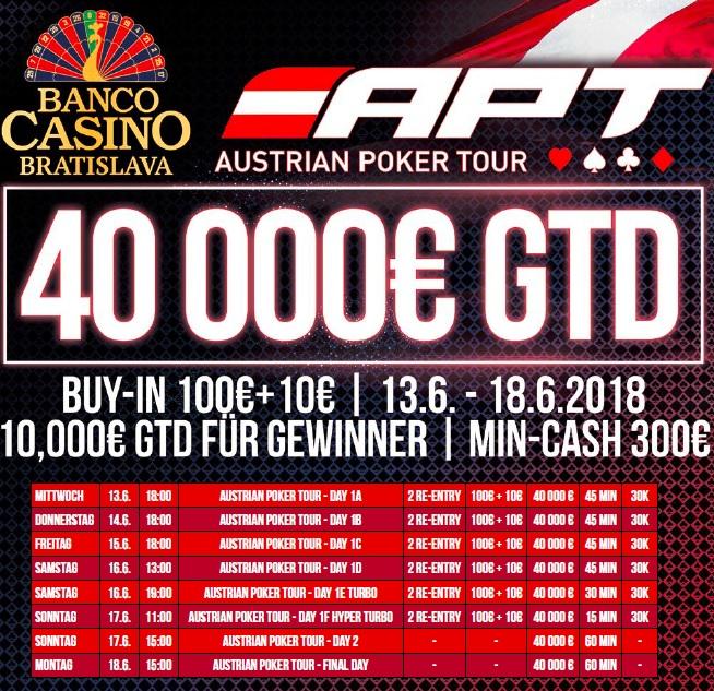 Austrian Poker Tour mit € 40.000 GTD im Banco Casino