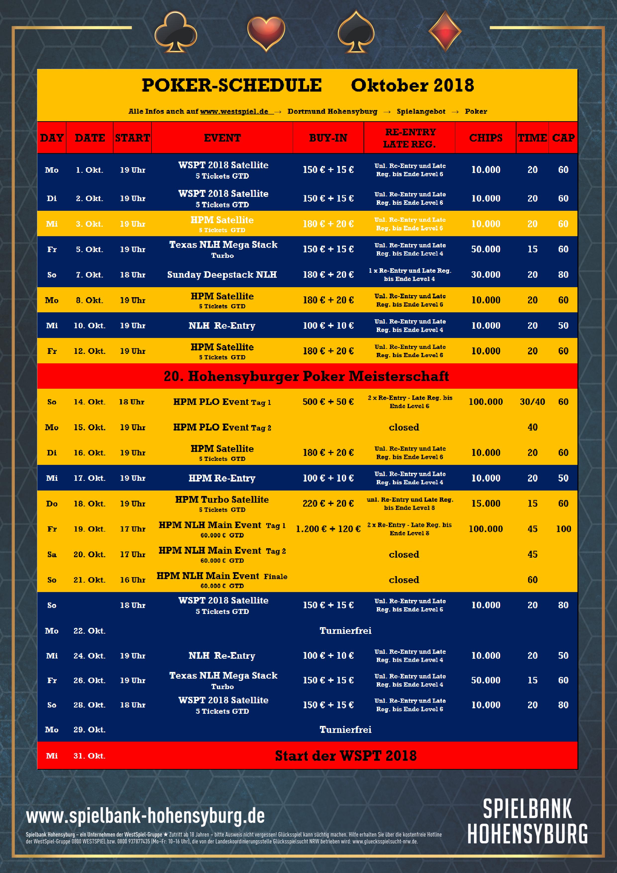 Fünf Tickets beim ersten Satellite zur Hohensyburger Poker Meisterschaft