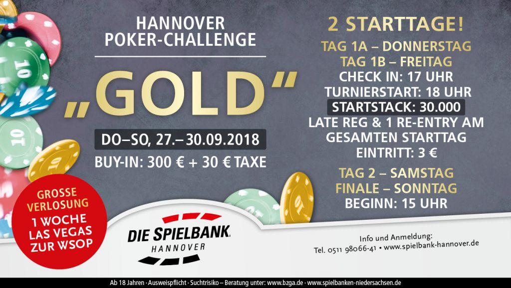 Der Countdown zur Poker Challenge Gold in der Spielbank Hannover läuft
